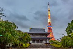 Tokyo Tower and Buddhist Temple Stock Photography