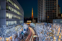 Tokyo Tower with Christmas illumination at Roppongi Royalty Free Stock Photo