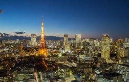 Tokyo Tower cityscape dusk Royalty Free Stock Photography