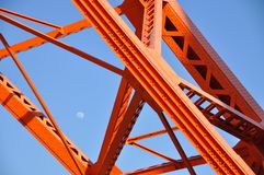 Tokyo Tower and daytime moon, Tokyo landmark with blue sky. Royalty Free Stock Images