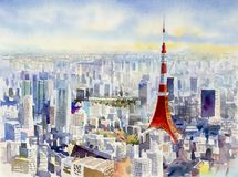 Tokyo tower, Famous landmark of Japan. Watercolor painting. Tokyo tower, Famous landmark of Japan. Watercolor painting landscape colorful of business city Stock Image