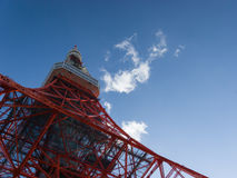 Tokyo Tower, Japan. Dramatic shot looking skyward from the base of the Tokyo Tower in Tokyo, Japan Royalty Free Stock Photography