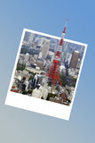Tokyo tower in Japan, in an instant photo frame Stock Photography