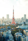 Tokyo tower, landmark of Japan, and panoramic modern city bird eye view with dramatic sunrise and morning sky Stock Images