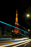 Tokyo Tower with light trails Stock Images