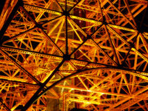 Tokyo Tower at night. Tokyo Tower illuminated with the orange lighting. Close look at its structure royalty free stock images