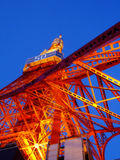 Tokyo Tower at night. Tokyo Tower illuminated with the orange lighting. Shot from its foot royalty free stock photo
