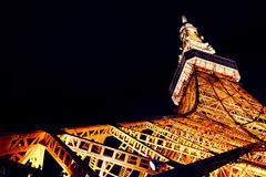 Tokyo Tower at Night, Japan. Bottom view of the Tokyo tower Stock Photo