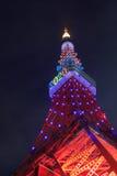 Tokyo Tower Olympic illumination Stock Photos
