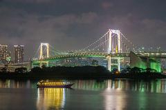 Tokyo tower and rainbow bridge in Tokyo, Japan. Royalty Free Stock Photo