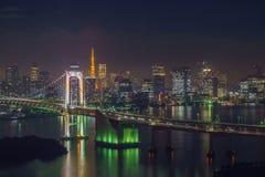 Tokyo tower and rainbow bridge in Tokyo, Japan. Stock Photo