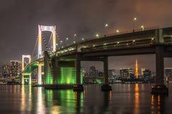 Tokyo tower and rainbow bridge in Tokyo, Japan. Royalty Free Stock Image