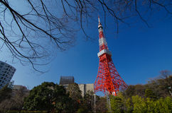 Tokyo Tower. In red contrast with blue Royalty Free Stock Photo