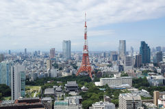 Tokyo tower and roppongi hills. In sunny day royalty free stock photos