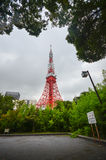 Tokyo tower. SHIBAKOEN, TOKYO - AUGUST 12, 2014: Tokyo Tower is the landmark and symbol of Tokyo. Constructed in 1958. Height: 332.6 m Stock Image