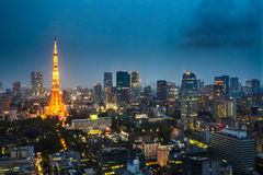 Tokyo Tower and Skyline Stock Photography