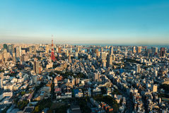 Tokyo Tower and skyline at dusk from Roppongi Hills Royalty Free Stock Photo