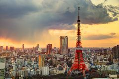 Tokyo Tower and Skyline Royalty Free Stock Photo