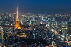 Tokyo Tower skyline during twilightTwilight of Tokyo city aerial view with Tokyo tower, Japan Royalty Free Stock Images