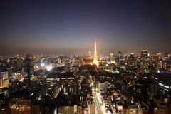 Tokyo tower and streets during sunset Royalty Free Stock Image