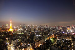 Tokyo tower and streets during sunset Stock Photography