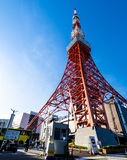 Tokyo tower in summer and a green tree on May 13,2016 in Tokyo,J Stock Image