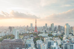 Tokyo tower and sunset sky Stock Photo