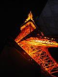 Tokyo Tower, Tokyo, Japan. Night view of Tokyo Tower from a low perspective point royalty free stock images
