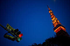 Tokyo Tower with traffic lights. Stock Photos