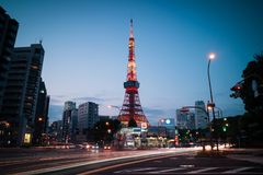 Tokyo Tower view during twilight with traffic light trail stock photos