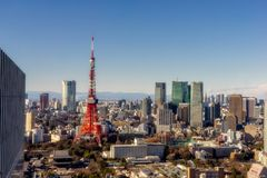 Tokyo Tower during the day stock photos