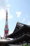 Tokyo Tower with Zojo-Ji Temple Stock Images