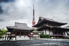 Tokyo Tower and Zojo-ji Temple in Tokyo, Japan Royalty Free Stock Photography