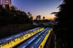 Sunset at Tokyo, Japan train station Royalty Free Stock Photos