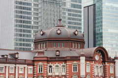 Tokyo train station with skyscrapers Royalty Free Stock Photo