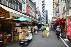 Tokyo, Tsukiji Japan -August 18, 2015 -Tsukiji fish market is th Stock Photography