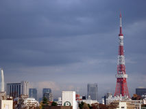 Tokyo tv tower. Red and white landmark tv tower in tokyo, japan Stock Photo