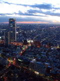 Tokyo twilight. Twilight view over Tokyo metropolis with Mount Fuji on the horizon, back lighten by sun Stock Photos