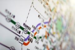Tokyo-Untergrundbahnkarte stockfoto