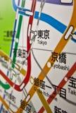 Tokyo-Untergrundbahnkarte Japan Lizenzfreie Stockfotos
