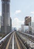 Tokyo urban railway, Japan. Tokyo modern city centre, elevated urban railway royalty free stock image