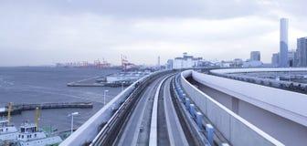Tokyo urban railway, Japan. Tokyo modern city centre, elevated urban railway stock image