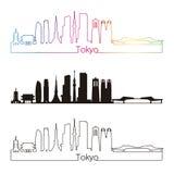 Tokyo V3 skyline linear style with rainbow Stock Photography