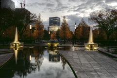 Tokyo fountain Wadakura after sunset, Japan royalty free stock images