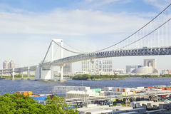 Tokyo waterfront, view on Rainbow Bridge with cityscape at Odaiba Japan Stock Photos