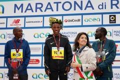 Tola, Ruto и Bitok, покрывают 3 в марафоне 2017 Рима Стоковое фото RF