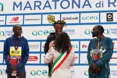 Tola, Ruto и Bitok, покрывают 3 в марафоне 2017 Рима Стоковая Фотография RF