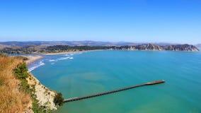 Tolaga Bay wharf panorama, New Zealand Stock Photo
