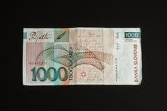 1000 tolar rekening van Slovenië, braakakkerbeeld Stock Foto