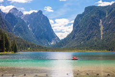 Tolbach see. Pedal Boat on Lake dobbiaco, in Dolomites mountain, Italy, Sudtirol stock photo